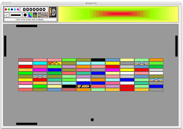 A reduced screenshot of Brickles Pro for the Macintosh, showing one possible configuration of a 4-Paddle game.