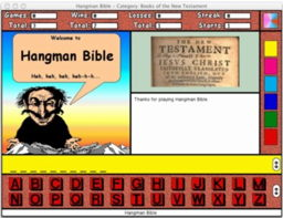 hangman, bible, religion, educational software, games, spelling, non-violent, su