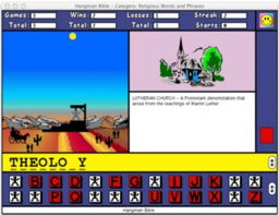 A reduced screenshot of Hangman Bible for the Macintosh, showing a game already in progress...