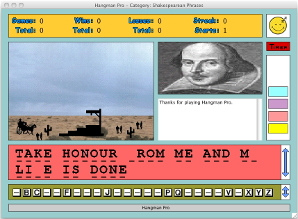 A reduced screenshot of Hangman Pro for the Macintosh, showing a game already in progress...