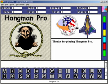 A reduced screenshot of Hangman Pro for Windows